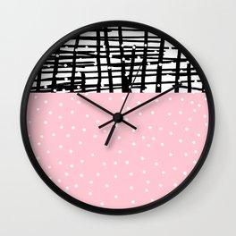 Black white pink polka dots geometric pattern Wall Clock