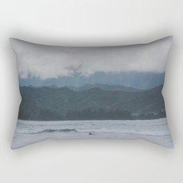 Lone Surfer - Hanalei Bay - Kauai, Hawaii Rectangular Pillow