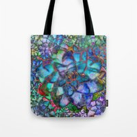 succulent Tote Bags featuring Succulent by Klara Acel