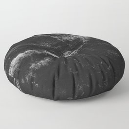 Dark Ocean in Black and. White Floor Pillow