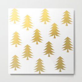 Gold Brushstroke Ink Holiday Christmas Winter Forest Nature Tree Classic Pattern Metal Print