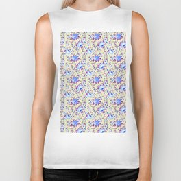 Blue pink vintage yellow hand painted floral Biker Tank