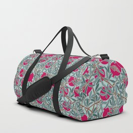 Pomegranates, Fruit, Leaves, Branches in Teals and Fuchsia Duffle Bag