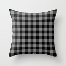 Gray and Black Lumberjack Buffalo Plaid Fabric Throw Pillow