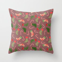 Hand painted green red white Christmas socks candy pattern Throw Pillow
