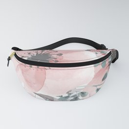 Watercolor, Floral, Coral and Gray Fanny Pack