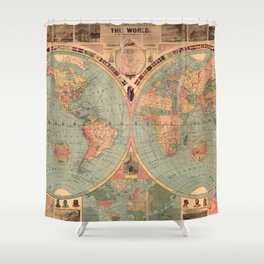 Vintage Map of The World (1883) Shower Curtain