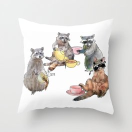 Racoon Tea Party Throw Pillow
