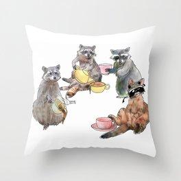 Racoon Tea Party Throw Pillow