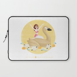 Summer Pool Party - Gold Swan Float E Laptop Sleeve