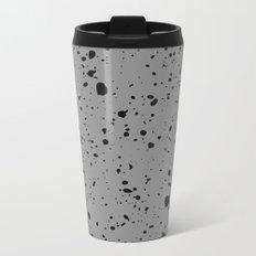 Retro Speckle Print - Grey Metal Travel Mug