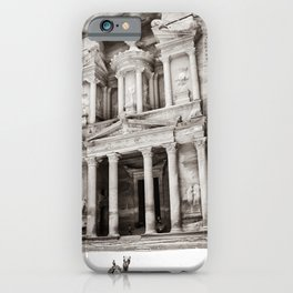 Camels at Petra | Black and White Stunning Stone Monument Hidden Lost City Treasury Carved Cliff iPhone Case