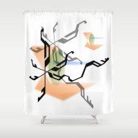 random Shower Curtains featuring Random by Robin Curtiss