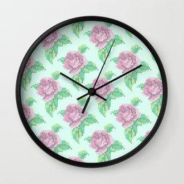 Cross Stitch Rose Pattern in blue Wall Clock