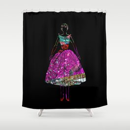 Audrey Pink Glitter Dress Shower Curtain