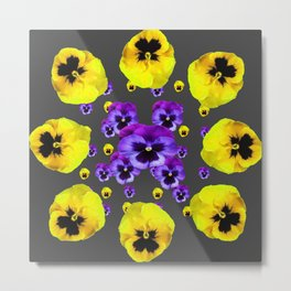 YELLOW & PURPLE PANSY FLOWERS FLOATING ON CHARCOAL Metal Print