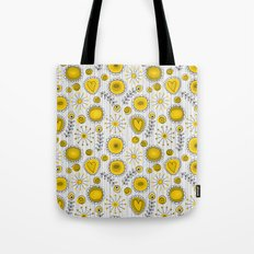 Whimsical flowers in yellow Tote Bag