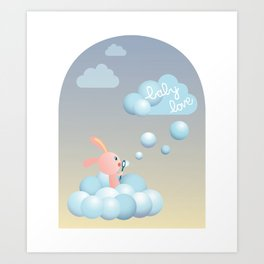 Bubble Cloud Bunny – Baby Love Series Art Print