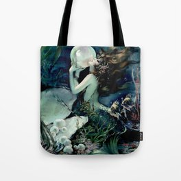 Henry Clive: Mermaid with Pearl dark teal Tote Bag