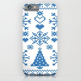 Christmas Cross Stitch Embroidery Sampler Teal And White iPhone Case