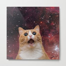 scaredy cat in space Metal Print
