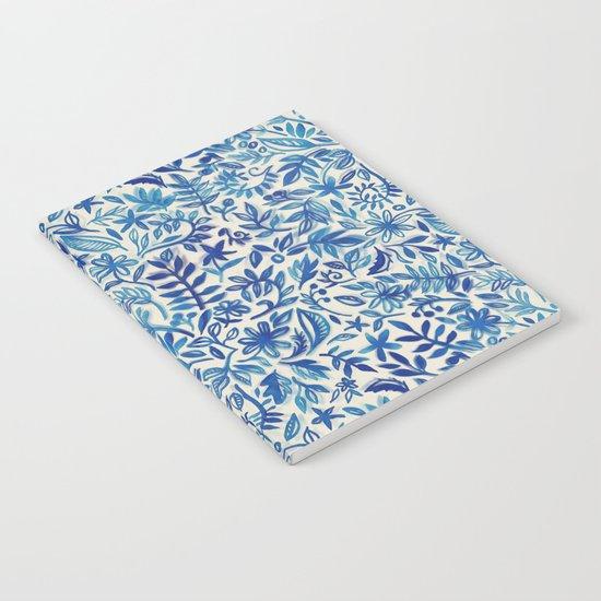 Floating Garden - a watercolor pattern in blue Notebook