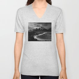 Ansel Adams - The Tetons and Snake River Unisex V-Neck