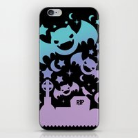 pastel goth iPhone & iPod Skins featuring Creepy Cute Fairy Kei Pastel Goth Bats, Stars, and Crescent Moons by KawaiiMachine