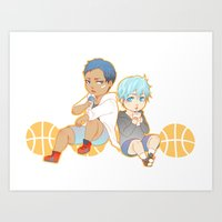 kuroko Art Prints featuring aomine daiki kuroko tetsuya by angryorangecat