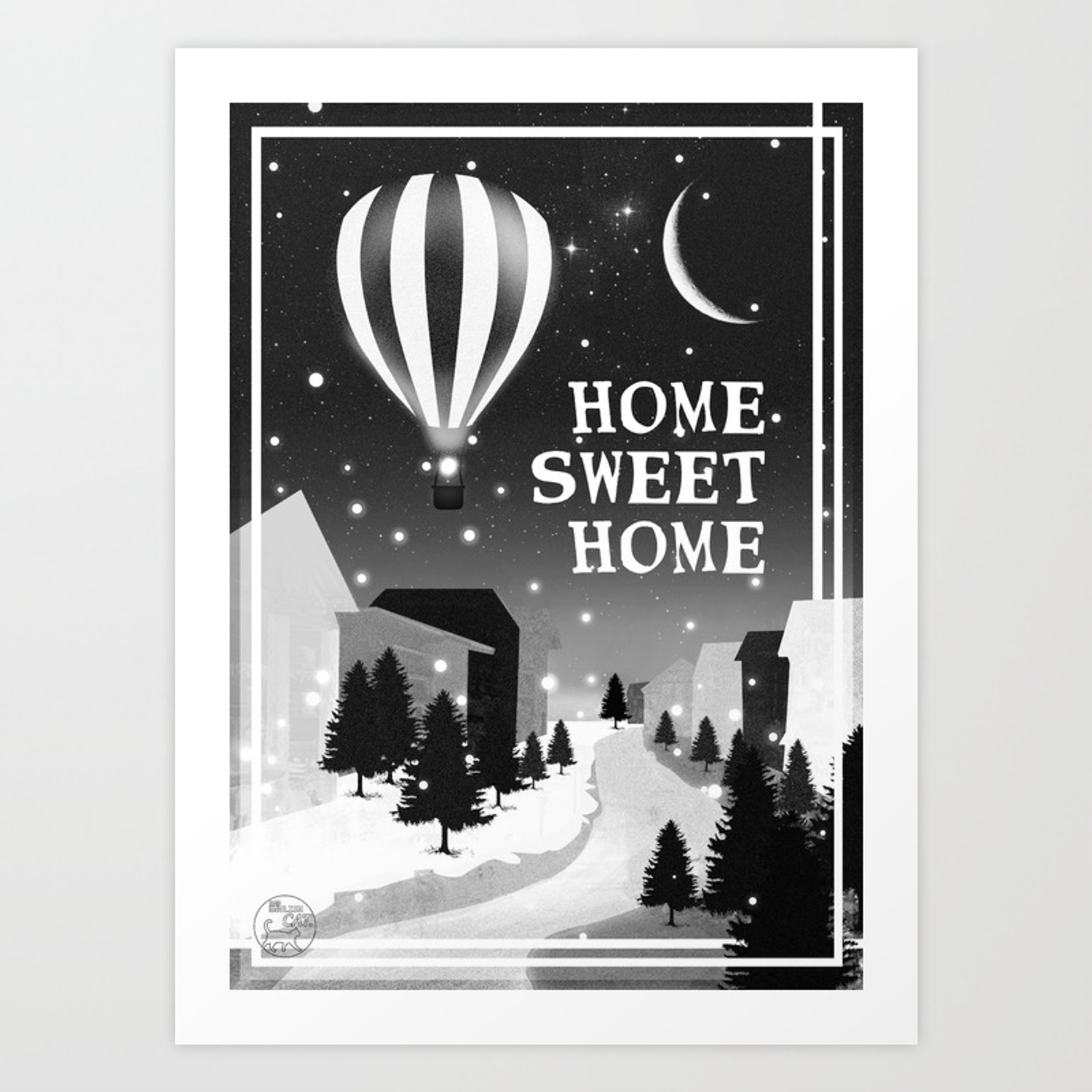 Hot Air Balloon Home Sweet Snowy Little Town Night Staroon Decor Christmas Spirit Art Print