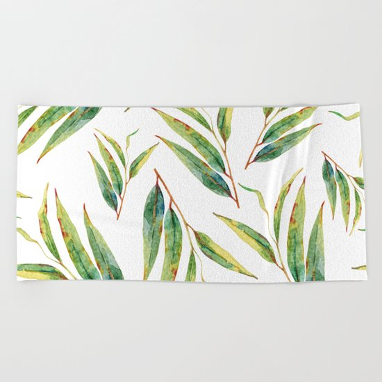 leaves watercolor pattern Beach Towel