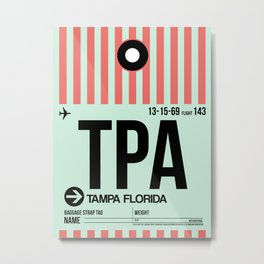 TPA Tampa Luggage Tag 1 Metal Print