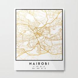NAIROBI KENYA CITY STREET MAP ART Metal Print