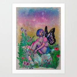 faerie in a meadow Art Print
