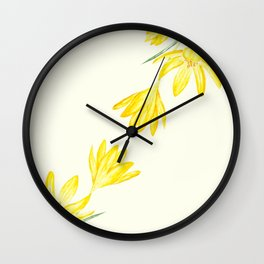 yellow botanical crocus watercolor Wall Clock