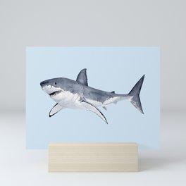 GREAT WHITE SHARK (light blue) Mini Art Print