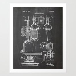 Photographic Enlarger Patent Drawing Art Print