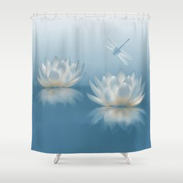 Blue Lotus and Dragonfly Shower Curtain