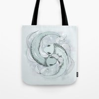 pisces Tote Bags featuring Pisces by Vibeke Koehler