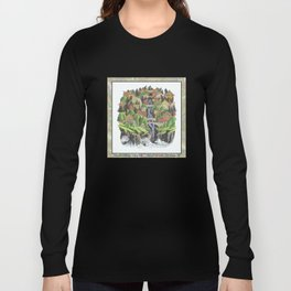 SEASIDE VILLAGE WATERFALL REVISITED COLORED PEN DRAWING Long Sleeve T-shirt