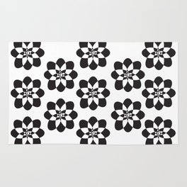 Atomic Flower Black and White Rug