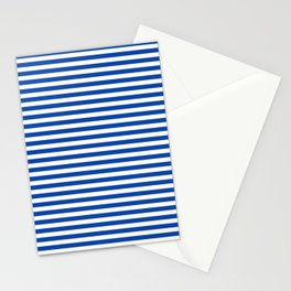Geometric navy blue white nautical stripes pattern Stationery Cards
