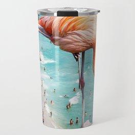 Flamingos on the Beach, Wildlife Surrealism Birds, Nature Flamingo Fantasy Beach Summer Photography Travel Mug
