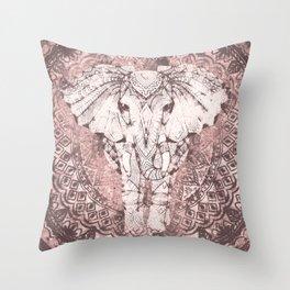 Bohemian, Elephant, Mandala, Blush, Moon Throw Pillow
