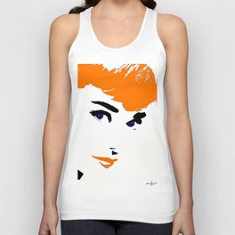 Audrey So Beautful In Orange and Blue Unisex Tank Top