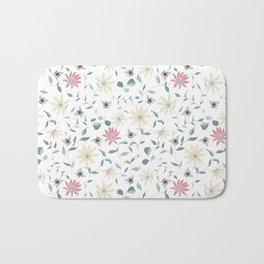 Floral Bee Print Bath Mat