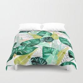 Tropical jungle white Duvet Cover