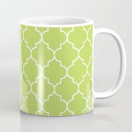 Moroccan Trellis, Latticework - Green White Coffee Mug