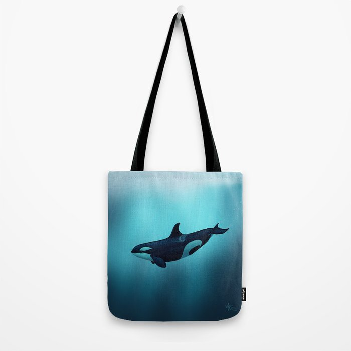 """""""Lost in Serenity"""" by Amber Marine ~ Orca / Killer Whale Art, (Copyright 2015) Tote Bag"""