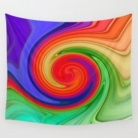 ying yang Wall Tapestries featuring Ying Yang Rainbow Swirl Background by taiche
